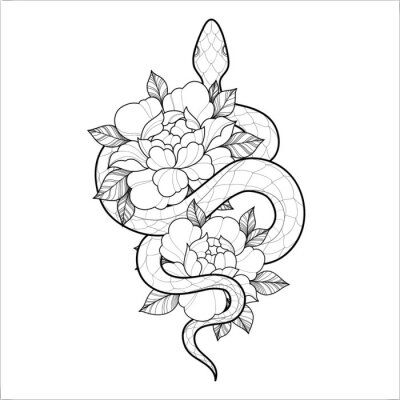 Fototapeta Hand drawing outline snake with flowers. Tattoo snake for Henna drawing and tattoo template. Vector illustration