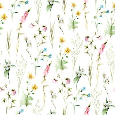 Fototapeta Hand drawing watercolor spring Pattern of wild leaves, flowers and branches. illustration isolated on white. Perfect for summer wedding invitation and card making