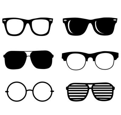 Fototapeta hand drawn black sunglasses illustration set. hipster style element design concept