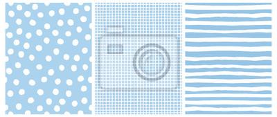 Fototapeta Hand Drawn Childish Style Vector Pattern Set. White Horizontal  Stripes on a Blue Background. White Grid On a Blue Layout. White Polka Dots on a Blue.  Cute Simple Geometric Design.