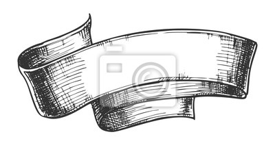 Fototapeta Hand Drawn Classical Advertising Ribbon Vector. Designed In Medieval Style Curled Blank Ribbon. Decoration Detail For Promotional Poster Print Black And White Template Illustration