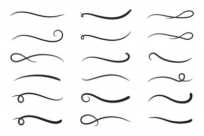 Fototapeta Hand drawn collection of curly swishes, swashes, swoops. Calligraphy swirl. Highlight text elements. Vector illustration.