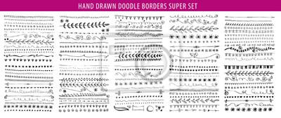Fototapeta Hand drawn line, border, frame vector design element set. Template for invitation or greeting card.