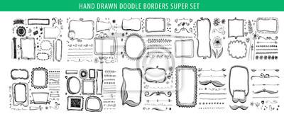 Hand Drawn Line Border Frame Vector Design Element Set Template Fototapety Redro