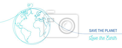 Fototapeta hand drawn save the world concept, world heart doodle