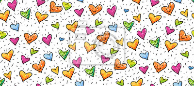 Fototapeta Hand-drawn seamless birthday or valentine pattern with cute little hearts for greeting cards, wrapping paper