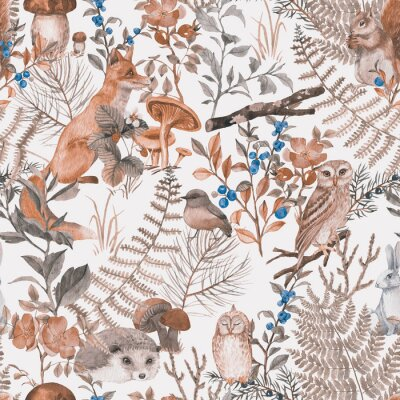 Fototapeta Hand drawn seamless pattern with watercolor forest animals and plants. Pattern for kids wallpaper, wood inhabitants, cute animals