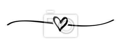 Fototapeta Hand drawn shape heart with cute sketch line, divider shape. Love doodle isolated on white background for wedding, mother, woman or valentines day. Vector illustration