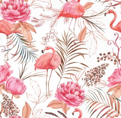 Fototapeta Hand drawn watercolor seamless pattern with pink flamingo, peony and decorative plants. Repeat background illustration