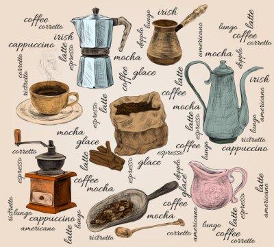 Fototapeta Handdrawn zestaw rocznika kawy