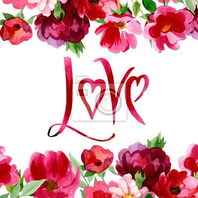 Handmade karty w projektowaniu akwareli. Może być używany do: ślub, tło dla karty, Walentynki prezent, romantyczny projektowania, dekoracji, ilustracji lub plakatu.