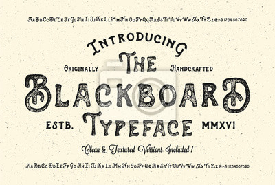 Fototapeta Handmade Modern Textured Font. Retro Typeface Duo . Clean & Textured Versions Included. Vector Illustration.