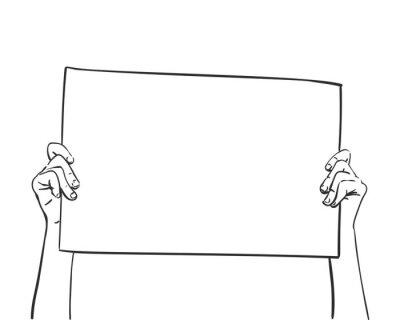 Fototapeta Hands holding blank banner. Vector sketch, Hand drawn illustration