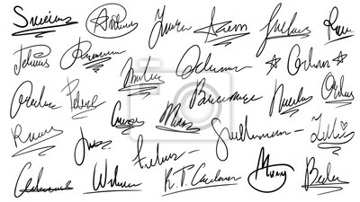 Fototapeta Handwritten signature. Manual signatures, manuscript sign for documents and hand drawn autograph lettering isolated vector set