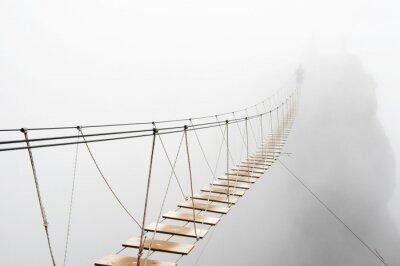 Fototapeta Hanging bridge in fog