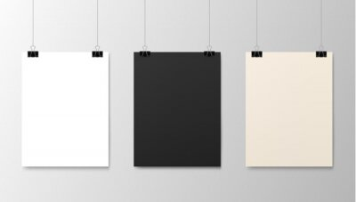 Fototapeta Hanging paper posters mockups, vector realistic sheets of paper on strings. Photo gallery posters on wall, blank white and black board frames hanging on binder clips, exhibition picture canvas