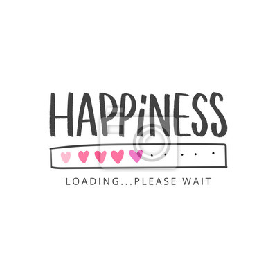 Fototapeta Happiness hand drawn lettering slogan for t-shirt, clothes, card, stickers. Modern love typography inspirational phrase.