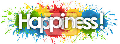 Fototapeta happiness word in splash's background