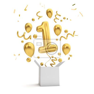 Fototapeta Happy 1st birthday gold surprise balloon and box. 3D Rendering