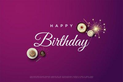 Fototapeta Happy birthday writing with delicious cake.