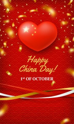 Fototapeta Happy China Day, 1st of October red card. Chinese memorial holiday greeting banner, poster, background in patriotic color with gold stars and glossy 3d heart realistic vector illustration