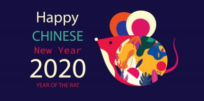Fototapeta Happy Chinese New Year design 2020. Year of Rat zodiac. Vector trendy colorful illustration.