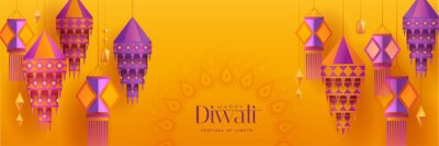 Fototapeta Happy Diwali. Group of paper graphic Indian lantern on Indian festive theme big banner background. The Festival of Lights.