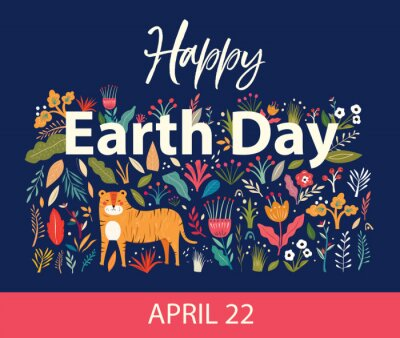 Happy Earth Day illustration. Big Vector colorful summer collection with flowers, leaves and tiger. Trendy vector cartoon illustration