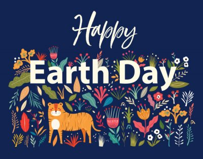 Fototapeta Happy Earth Day illustration. Big Vector colorful summer collection with flowers, leaves and tiger. Trendy vector cartoon illustration