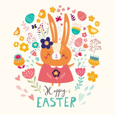 Happy easter card. Holiday easter illustration in cartoon style. Stylish holiday background.
