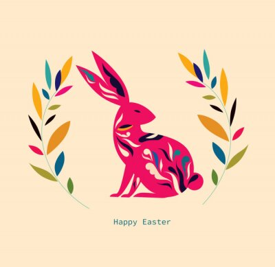 Fototapeta Happy easter greeting card with decorative easter bunny