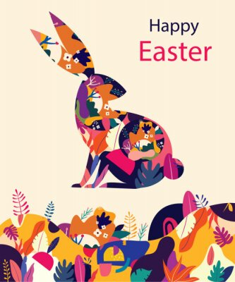 Happy easter greeting card with decorative easter rabbit
