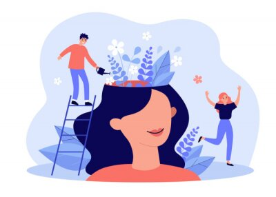 Fototapeta Happy girl having great mental health and positive mood. Tiny man watering flowers inside womans head. For psychology, genius, growth, development, intelligence concept