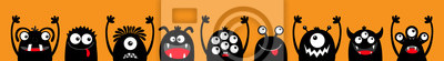 Fototapeta Happy Halloween. Monster black silhouette head face icon set line. Eyes, tongue, tooth fang, hands up. Cute cartoon kawaii scary funny baby character. Orange background. Flat design.