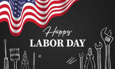 Fototapeta Happy Labor day. Construction tools. vector illustration