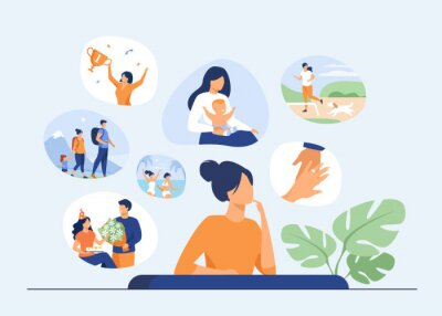 Fototapeta Happy life memories concept. Woman thinking over positive important moments of life experience, child birth, engagement, vacation. Vector illustration for past, personality, achievement topics