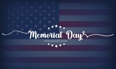 Fototapeta Happy Memorial Day card. Lettering poster with text In Honor Of Our Heroes. National american holiday. USA Memorial Day greeting card. Illustration. Vector EPS 10