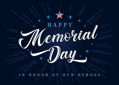 Fototapeta Happy Memorial Day lettering with stars and blue beams on background. Celebration design for american holiday - Remember and honor, with USA flag in star and text. Vector illustration
