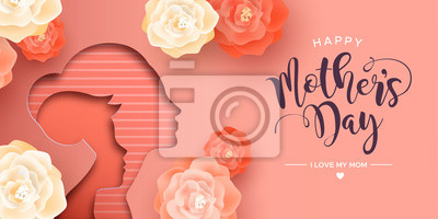 Fototapeta Happy Mothers Day card of papercut mom and kid