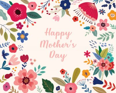 Fototapeta Happy Mothers Day greeting illustration with colorful spring flowers. Happy Mothers Day template