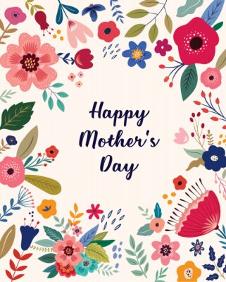 Fototapeta Happy Mothers Day greeting illustration with colorful spring flowers. Happy Mothers Day template, invitation