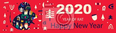 Fototapeta Happy New Year 2020 vector logo design. Chinese New Year. Cover of design for 2020. Calendar design, brochure, catalog, card, banner, wallpaper.