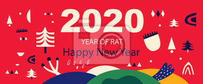 Fototapeta Happy New Year 2020 vector logo design. Chinese New Year. Cover of design for 2020. Calendar design, brochure, catalog, card, banner, wallpaper.