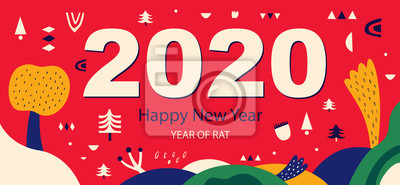Fototapeta Happy New Year 2020 vector logo design. Cover of design for 2020. Calendar design, brochure, catalog, card, banner, wallpaper