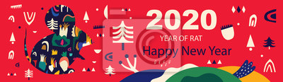 Fototapeta Happy New Year 2020 vector logo design. Happy new year with cute mouse rat in folk style. Chinese New Year. Cover of design for 2020. Calendar design, brochure, catalog, card, banner, wallpaper.