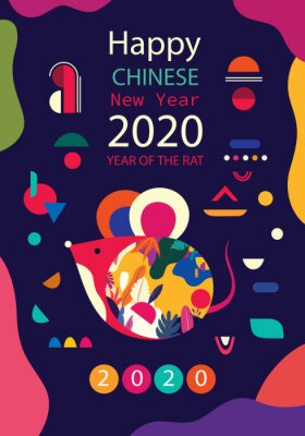 Happy New Year 2020 vector logo design. Happy new year with cute mouse rat in folk style. Chinese New Year. Cover of design for 2020. Calendar design, brochure, catalog, card, banner, wallpaper.
