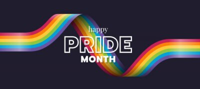 Fototapeta Happy Pride month text and rainbow pride ribbon roll wave on dark background vector design