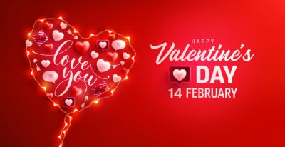 Fototapeta Happy Valentine's Day Poster or banner with symbol of heart from LED String lights and valentine elements on red background. Promotion and shopping template for love and Valentine's day concept.