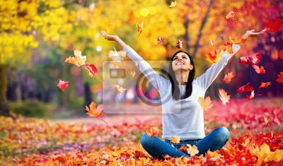 Fototapeta Happy Woman Enjoying Life in the Autumn on the Nature