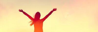 Fototapeta Happy woman sihouette with arms raised up in success on sunset glow sunshine banner panorama. Wellness, financial freedom, healthy life concept background.